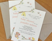 Gender Neutral Baby Shower Invitation in Bird, Bees and Butterfly Design