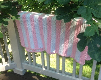 Pink and White Repurposed Baby Blanket (150038)