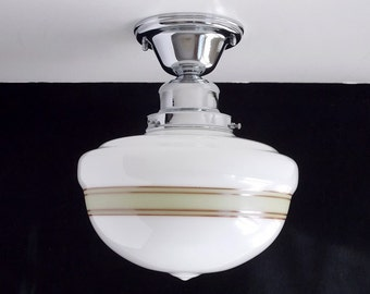Semi Flush Schoolhouse Ceiling Light Fixture with Olive and Mocha Painted Bands