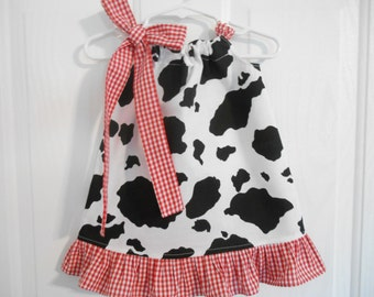 Pillowcase cow print dress with your choice of gingham tie and ruffle infant through 7/8 years