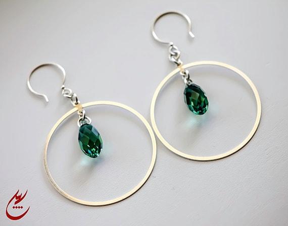 SALE-Ernite Green Teardrop Swarovski Crytal Sterling Silver Hoop Earrings, Modern Style Earrings