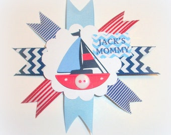 Small Nautical Baby Shower Corsage - Anchor Ahoy Boy Mommy To Be Badge Pin Mum - Made To Order