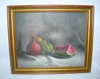 "Vintage Still Life Painting of Fruit-Signed-Wood Frame-24"" x 19 3/4"""