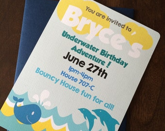 Ocean themed birthday invitations - set of 12
