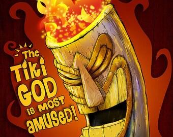 Tiki God Funny 8x10 Print