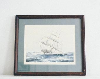 """Framed Vintage Print - """"Flying Cloud"""" by J. Spurling"""