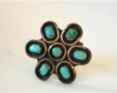 Vtg Navajo Silver Turquoise Ring Flower OLD Pawn sz 6 Sterling