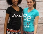 Womens Inspirational Tshirt - BEyouTiful shirt - Sky Blue Be YOU tiful VNeck Shirt - Free Shipping to USA