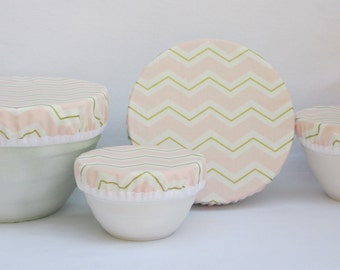 Cotton Fabric Bowl Covers -  Set of 4 Bowl Covers - Lined Fabric Bowl Covers - Light Pink - Gold and Cream Chevron fabric cover