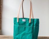 No. 103 Campus Tote in Bottle Green Canvas