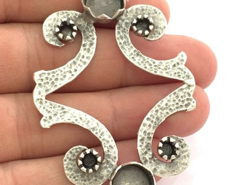 Antique Silver Plated Brass  Mountings , Blanks (10mm and 4mm blank) G3467