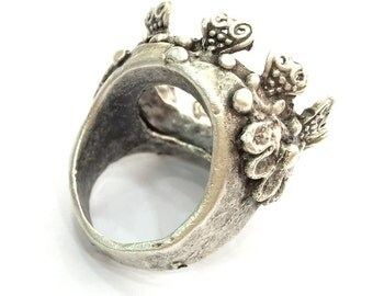 Antique Silver Plated Brass  Ring Blank (20mm Blank)  G3481