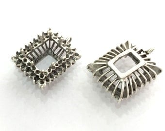 Antique Silver Plated Brass  Mountings , Blanks 32x22 mm (16x12 mm blank) G3564