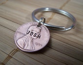 Personalized, Hand Stamped Lucky Penny Keychain