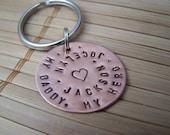 Hand Stamped Copper Keychain My Daddy My Hero