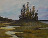 "Bass Harbor Marsh 11x14"" Original Watercolor Painting - Maine Fine Art by Artist Kellie Chasse Beautiful Wedding Gift Acadia Home Decor"