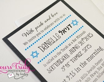 Star of David and Dots Bar or Bat Mitzvah Invitation or Party Invitation -Turquoise and Black
