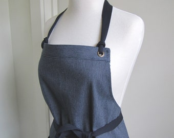 Full Apron Woman Denim Ticking  Apron  blue Apron work denim apron