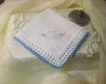 Bridal handkerchief, Hanky, Something Blue, Hand Crochet, Custom Embroidered, Personalized, Monogrammed, Lace, Heart, Hand Embroidered