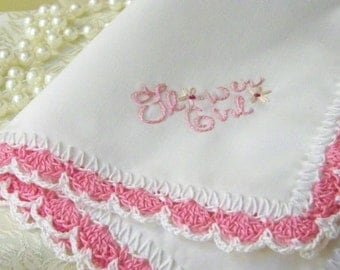 Girl's Handkerchief, Hanky, Hankie, Flower Girl, Hand Crochet, Embroidered, Personalized, Monogrammed, Pink, Lace, Lacy, Ready to ship