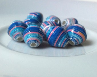 9 paper beads - blue, pink -