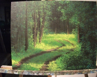 Path, Trail, Woods, Trees, Smokey, Summer, Spring Original Landscape Oil Painting