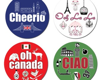 UK France Italy Canada Icons Round Glossy Stickers Favor Labels Stickers - 2 Inch or 2.5 Inch or 3 Inch