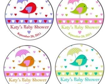 Its Raining Hearts Mod Bird With Umbrella Baby Shower Personalized Labels - 100 GLOSSY 2, 2.5 or 3 Inch Round Stickers
