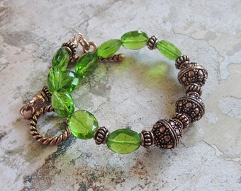 Peridot Copper Bracelet -vibrant green faceted Peridot