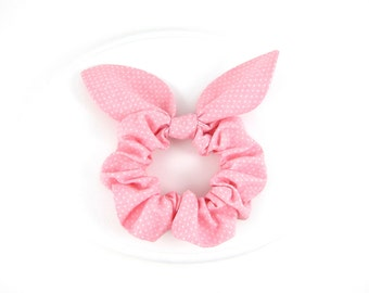 Bunny Ears Knot Bow Hair Scrunchie, Light Pink Pindot