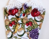 Crochet Top Hanging Kitchen Dish Towels Fruit Grapes Pears Strawberries Apples Blueberries Housewarming Gift Summer Towels