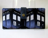 Women wallet - BBC - Dr. Who Packed Tardis - blue police box - Ready to Ship - police box - handmade purse