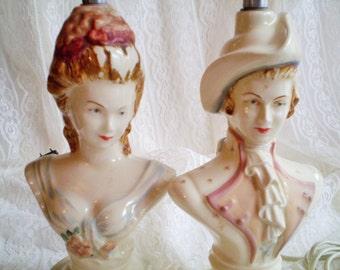 Vintage Figurine Lamps, Vintage Couple Lamps, Vintage Man Woman Lamps, Vintage French Couple Lamps, Vintage Small Lamps