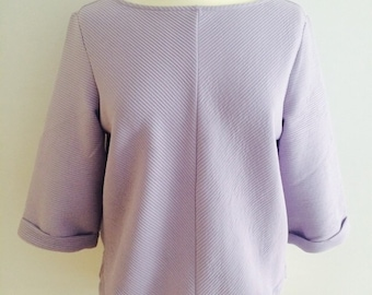 Lilac ribbed oversized pastle top (m)