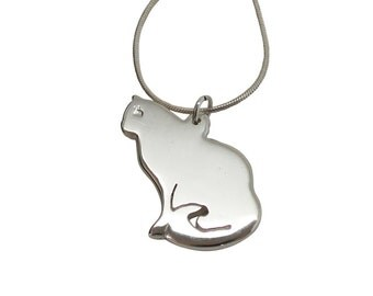 Silhouette Cat Necklace - Sterling Silver