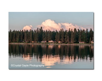 Cloud Home Decor ~ Sunset Photography Print ~ Cottage Chic, Lake House Wall Art, Sunset Sky, Blue, Woodland Nursery, Landscape, Modern, 8x10