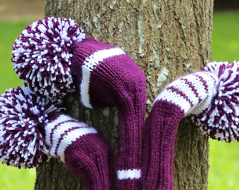 Retro Hand Knit Golf Club Head Covers Set of 3 Purple White with Pom Pom