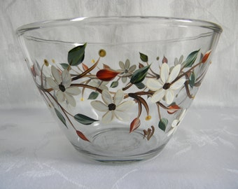 Serving bowl, hand painted serving bowl,dinnerware, fruit bowl, salad bowl, glass serving bowl, serveware