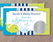 Whales and Ocean, Set of 12 Scratch off Cards, Baby Gender Reveal Party, Baby Shower Game