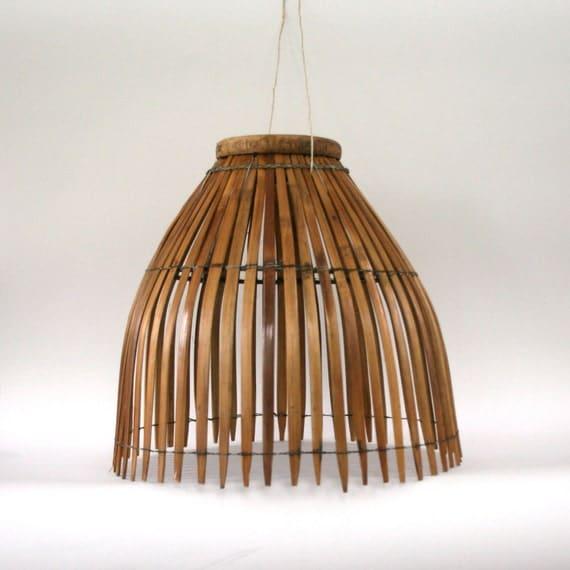 Vintage Bamboo Lamp Shade. Hanging Wicker Basket Pendant Lamp