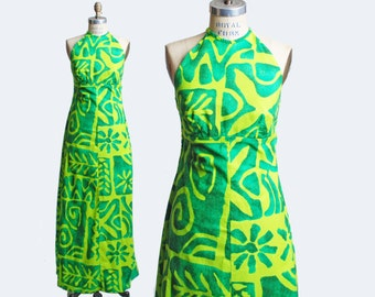 Vintage 70s Hawaiian MAXI DRESS / 1970s Lace Up Halter Gown, s