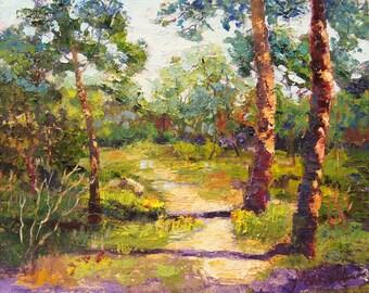 "Impressionist Oil palette knife painting ""The Picnic Spot"" Provence Impressionist Landscape Palette Knife Oil painting, approx. 10x12 inch"