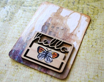 ACEO Mixed Media Butterfly Art - Orange Tip