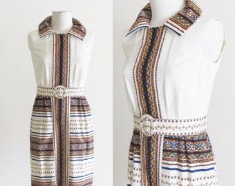 Vintage 1960's Retro Sundress / 60's 70's Mod Ivory Barkcloth Sleeveless Dress with Matching Belt / Size Small