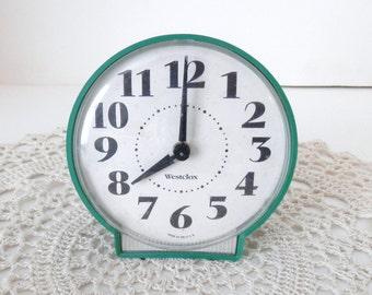 Vintage Green Westcox - Wind up Alarm Clock - 1950s Style Table Clock