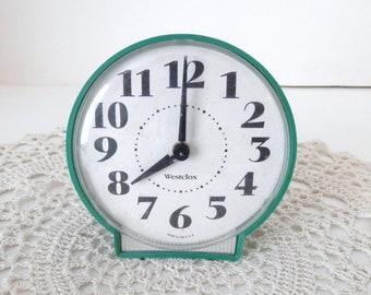 Vintage Green Westcox - Wind up Alarm Clock - 1950s Style Table Clock