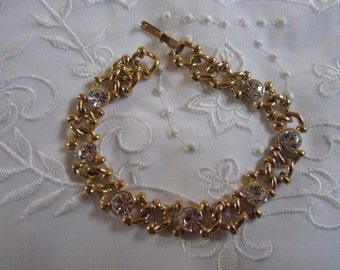 Vintage Link Bracelet with Large Clear Faceted Rhinestones