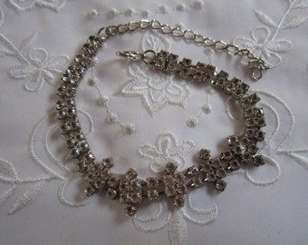 Vintage Clear Faceted Rhinestone Fancy Link Bracelet