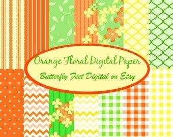 Floral Digital Paper Pack, Orange, Yellow, Green, Scrapbooking, Card Making, 14 Printable Designs, Instant Download