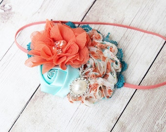 Whim-Sea - orange aqua and teal chiffon and rosette headband